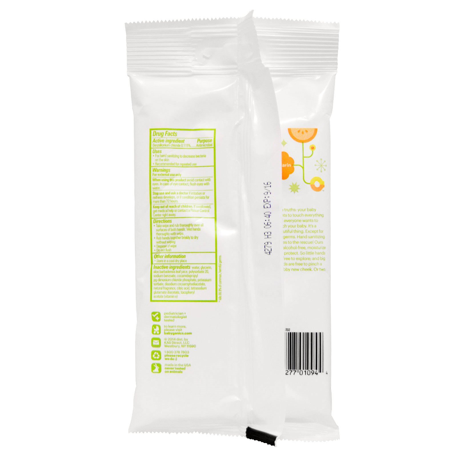 Babyganics Hand Sanitizing Wipes Alcohol Free Mandarin 20