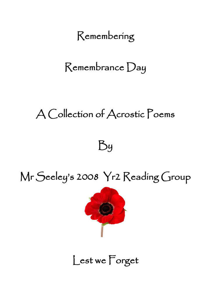 Remembrence Day Poems 5