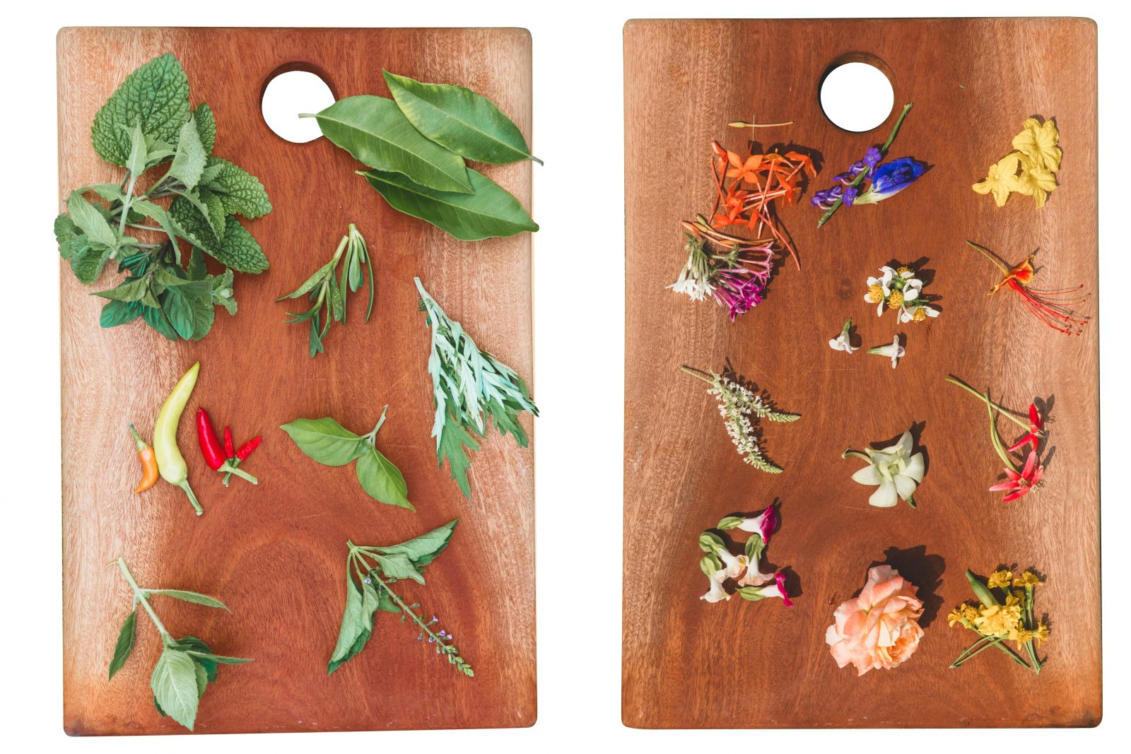 Some of the weird and wonderful produce available, including microherbs and edible flowers