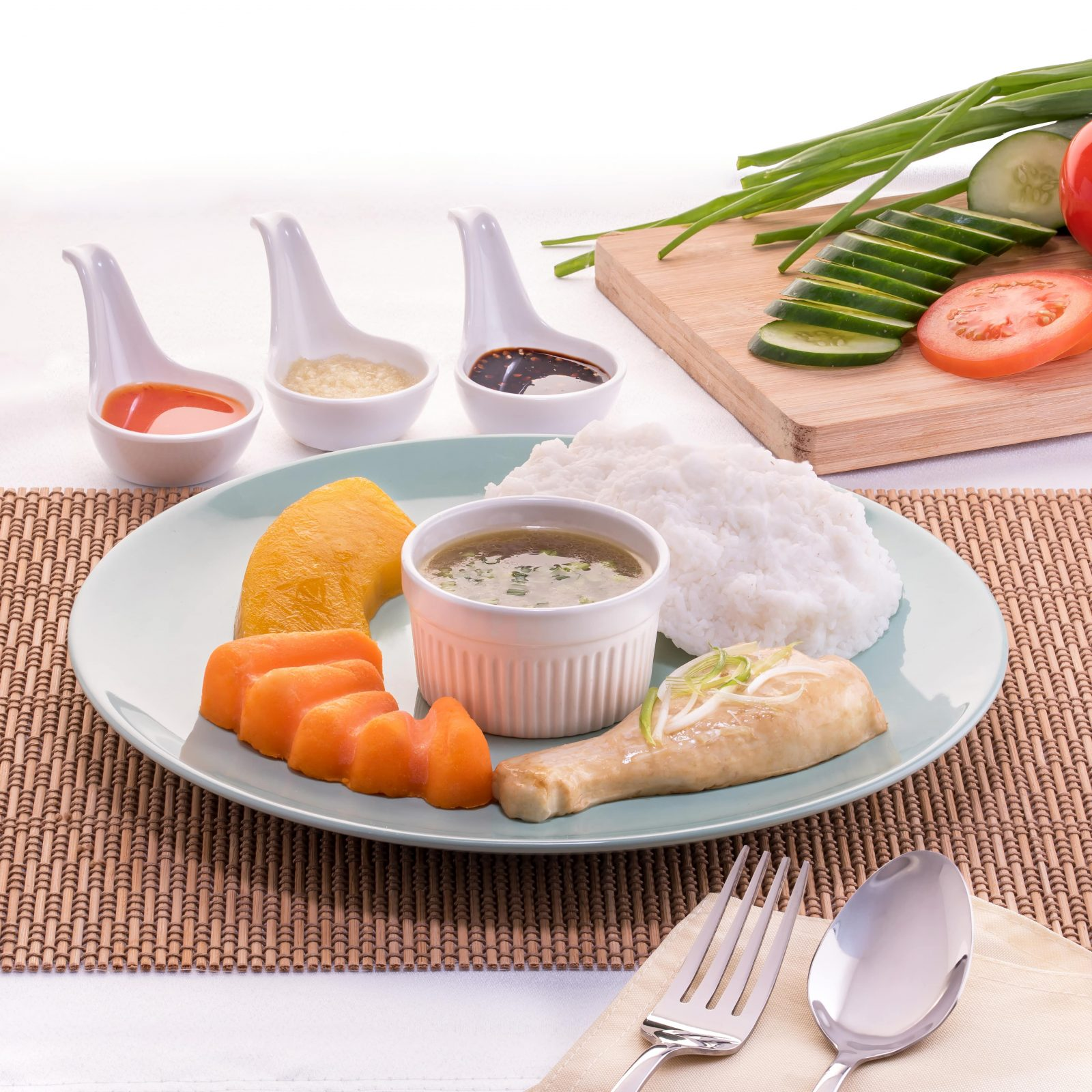 Local hawker favourites, such as Hainanese chicken rice, are texturally modified but shaped to ensure they remain appetising in terms of appearance, taste and smell