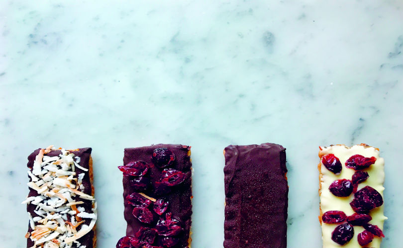 Tempe bars with flavourings like desiccated coconut and dried cranberries