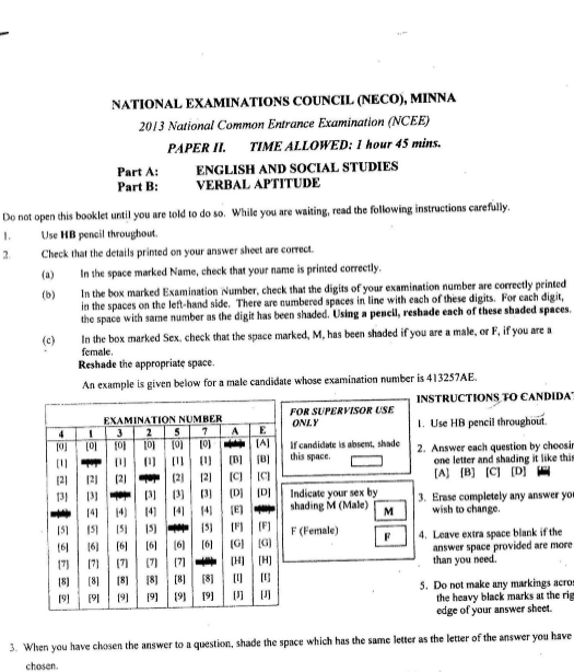 2013 National Common Entrance Exam Past Question & Answer 2