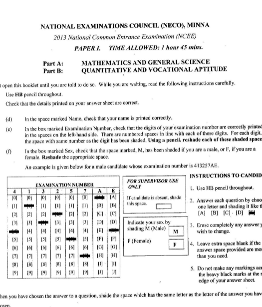 2013 National Common Entrance Exam Past Question & Answer 4