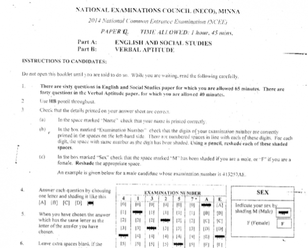 2014 National Common Entrance Exam Past Question & Answer 1