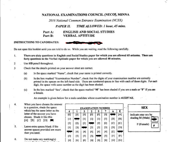 2016 National Common Entrance Exam Past Question & Answer 2