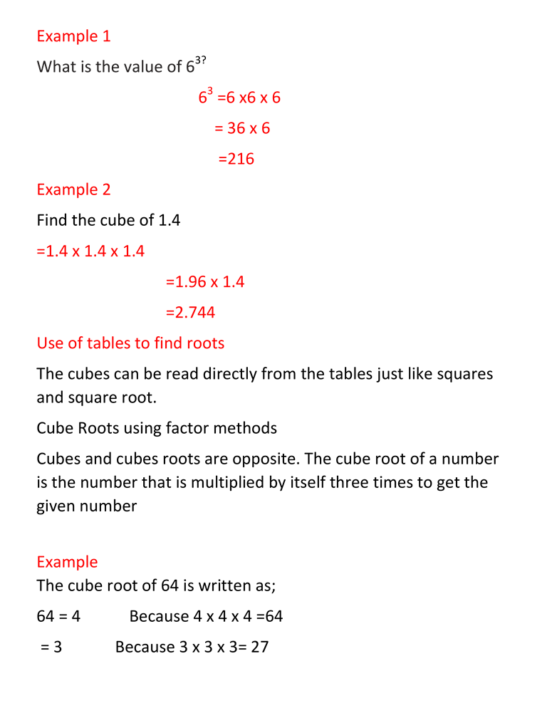 CUBES AND CUBE ROOTS 8
