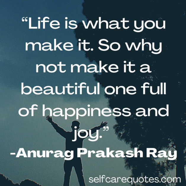 Life is what you make it. So why not make it a beautiful one full of happiness and joy. -Anurag Prakash Ray