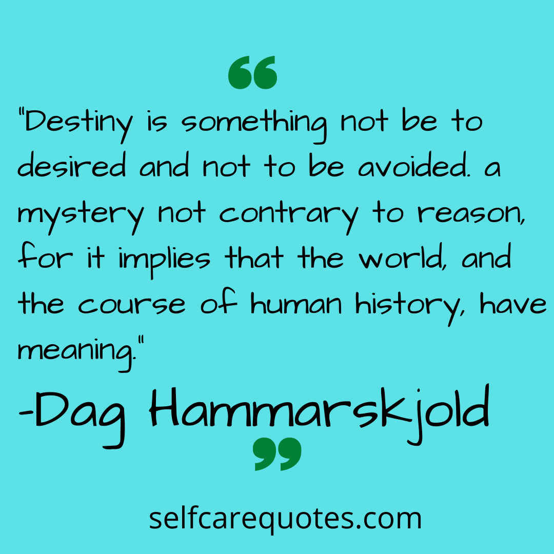 """Destiny is something not be to desired and not to be avoided. a mystery not contrary to reason, for it implies that the world, and the course of human history, have meaning."""" – Dag Hammarskjold"""