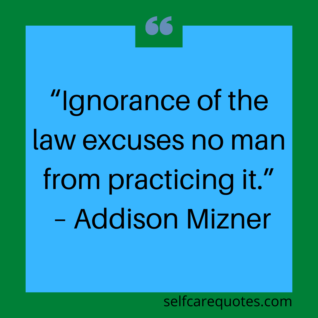 """""""Ignorance of the law excuses no man from practicing it."""" – Addison Mizner"""