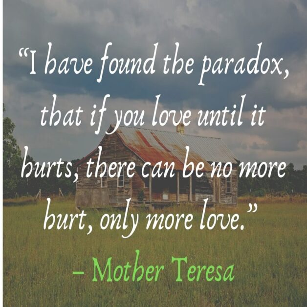 """""""I have found the paradox, that if you love until it hurts, there can be no more hurt, only more love."""" – Mother Teresa"""