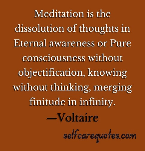 Meditation is the dissolution of thoughts in Eternal awareness or Pure consciousness without objectification, knowing without thinking, merging finitude in infinity.—Voltaire
