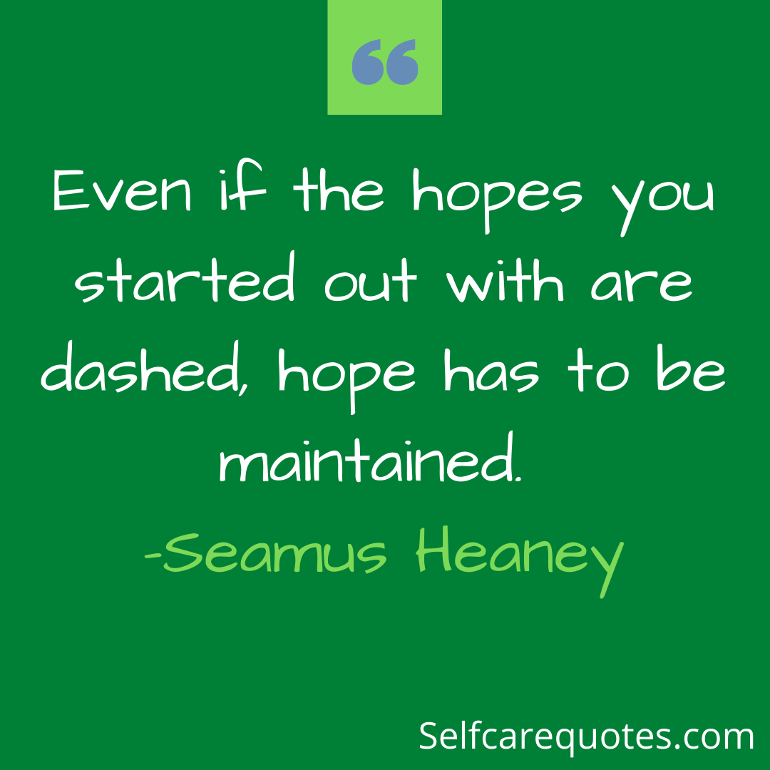Even if the hopes you started out with are dashed, hope has to be maintained. -Seamus Heaney