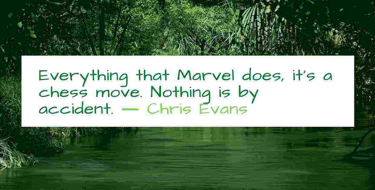 Everything that Marvel does it is a chess move. Nothing is by accident. ― Chris Evans