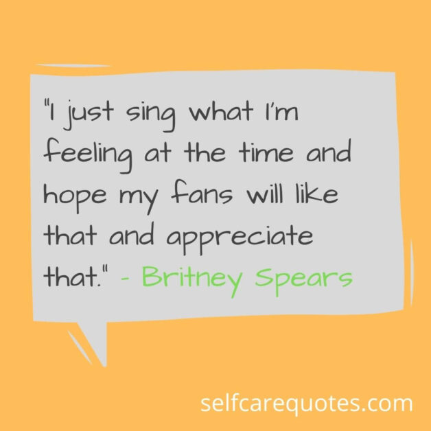 I just sing what I am feeling at the time and hope my fans will like that and appreciate that. – Britney Spears