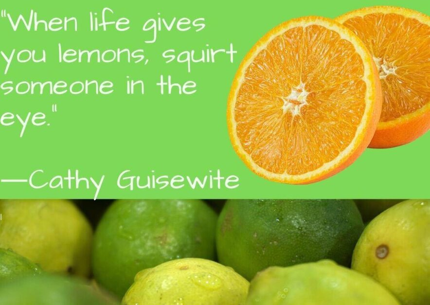 When life gives you lemons, squirt someone in the eye.―Cathy Guisewite