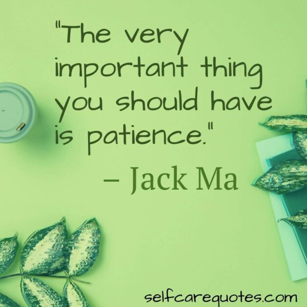 The very important thing you should have is patience. – Jack Ma