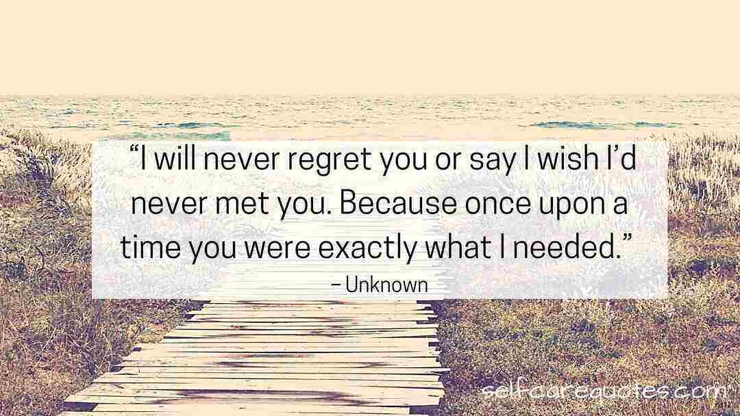 """""""I will never regret you or say I wish I'd never met you. Because once upon a time you were exactly what I needed."""" – Unknown"""