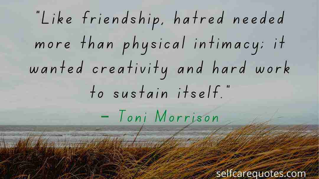 """Like friendship, hatred needed more than physical intimacy; it wanted creativity and hard work to sustain itself.""– Toni Morrison"