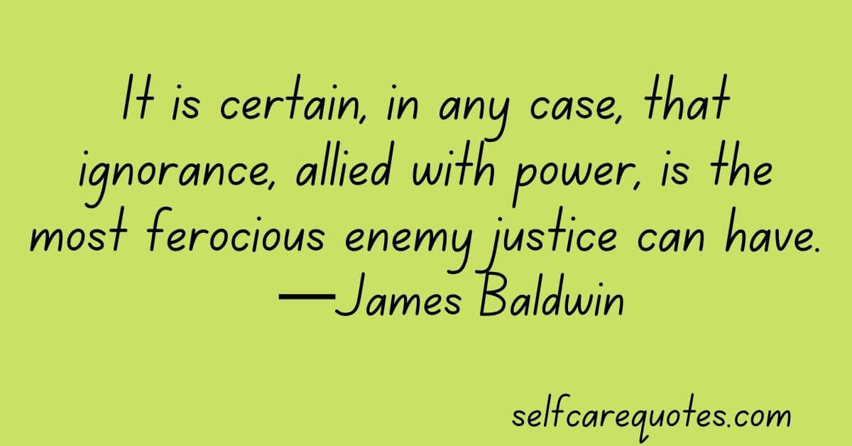 It is certain, in any case, that ignorance, allied with power, is the most ferocious enemy justice can have.—James Baldwin