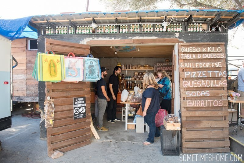 Travel photos and ideas in Tijauna, Mexico with hipster spot Telefonica Gastropark food truck hotspot. Cheese shop image.
