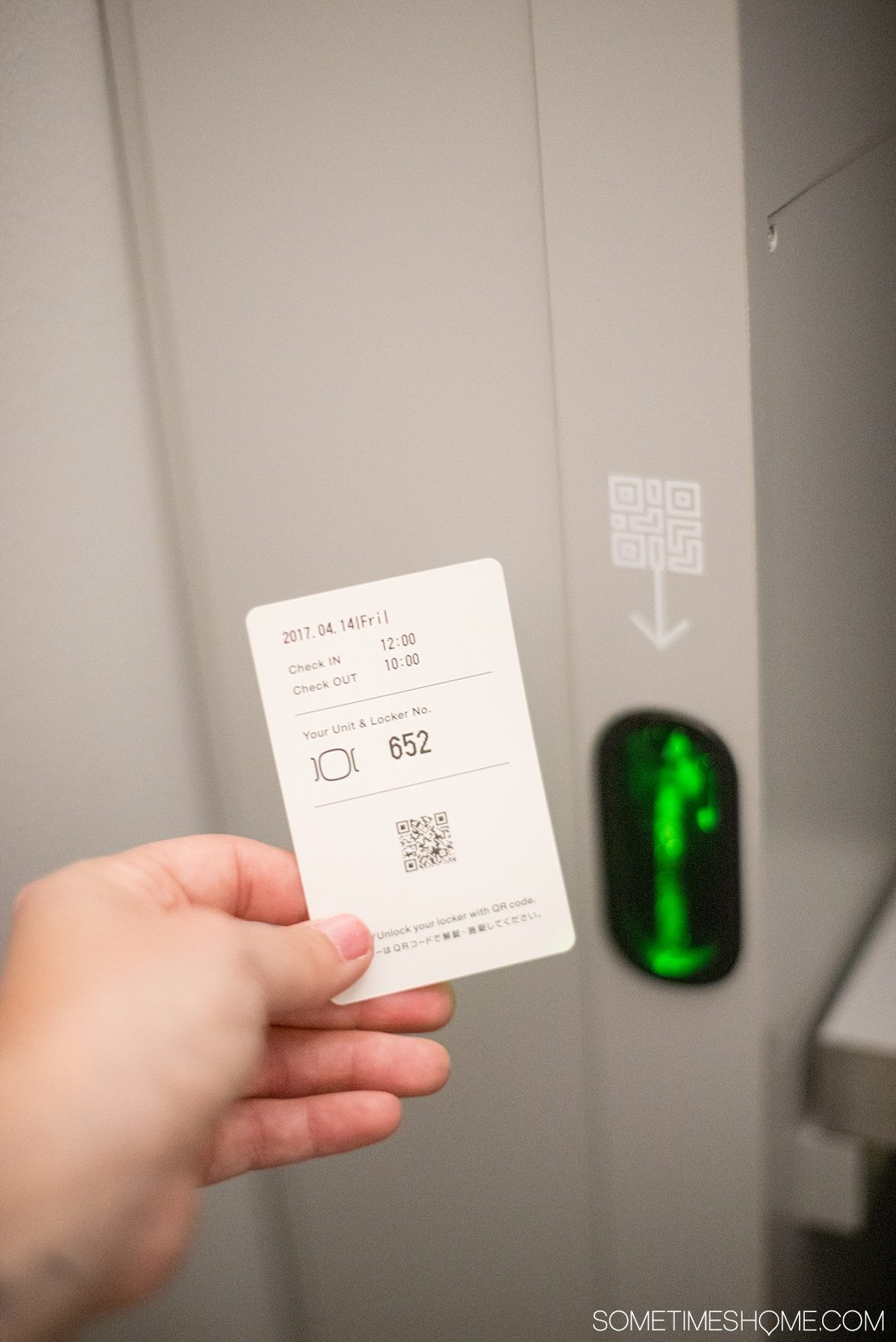 What It's Like to Stay in 9 Hours Pod Hotel in Shinjuku Japan by Sometimes Home travel site. A look inside and advice, pros and cons. Photo of the locker each guest gets.