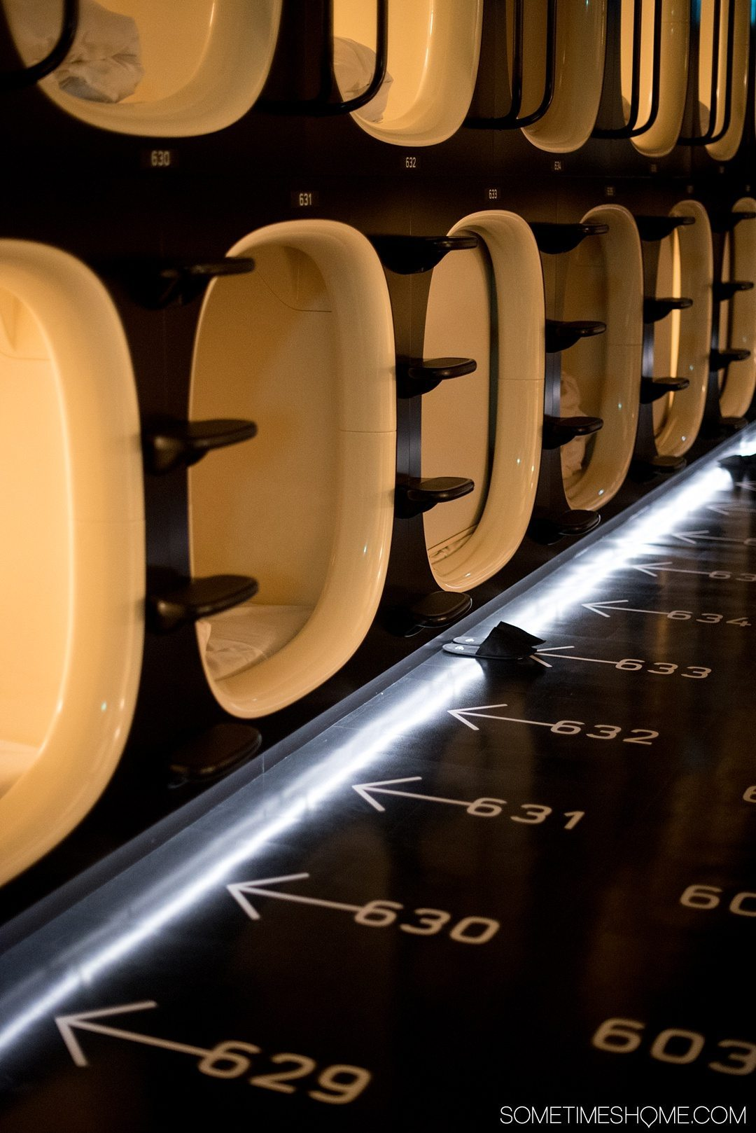 What It's Like to Stay in 9 Hours capsule hotel in Shinjuku Japan by Sometimes Home travel site. A look inside a luxury capsule pod hotel in this great neighborhood of Tokyo. Want to see photos and FAQs answered? Click through to feed your curiosity about this affordable accommodation option in one of the most popular cities in the world. #capsulehotel #tokyohotel #shinjukujapan
