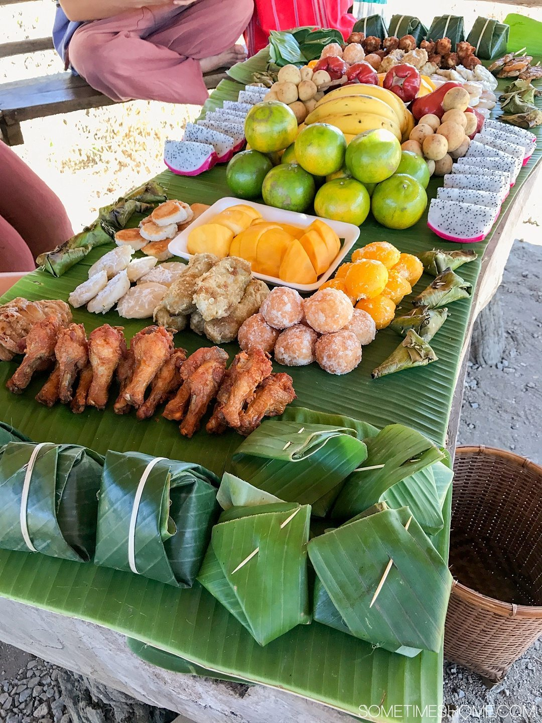 Vital FAQs Answered About Patara Elephant Farm in Chiang Mai. Information by Sometimes Home travel blog. A photo of the lunch of meat, rice and fruit included in the day.