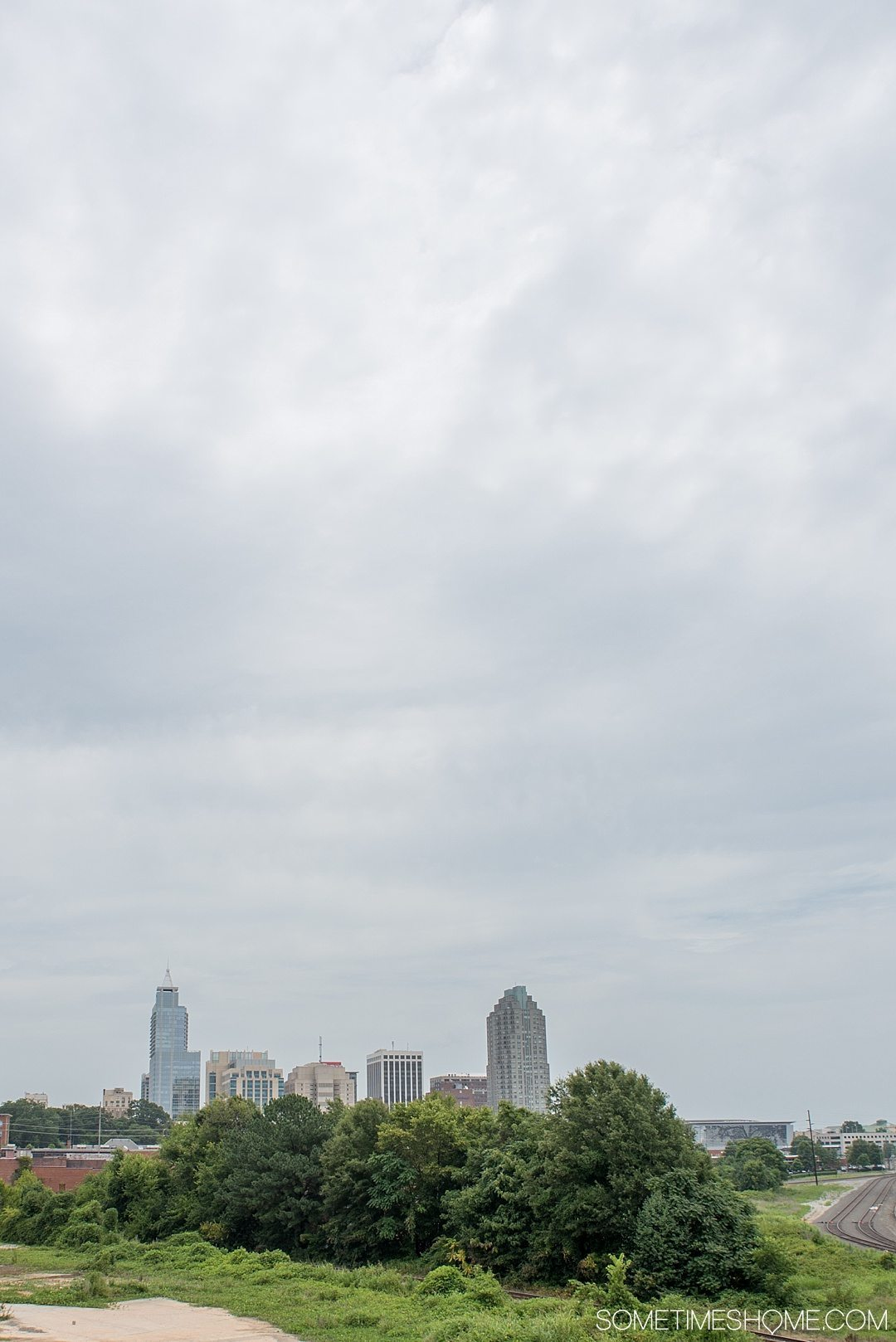 10 Best Downtown Raleigh Photography Spots on Sometimes Home travel blog. Photo of the view from Boylan Bridge.
