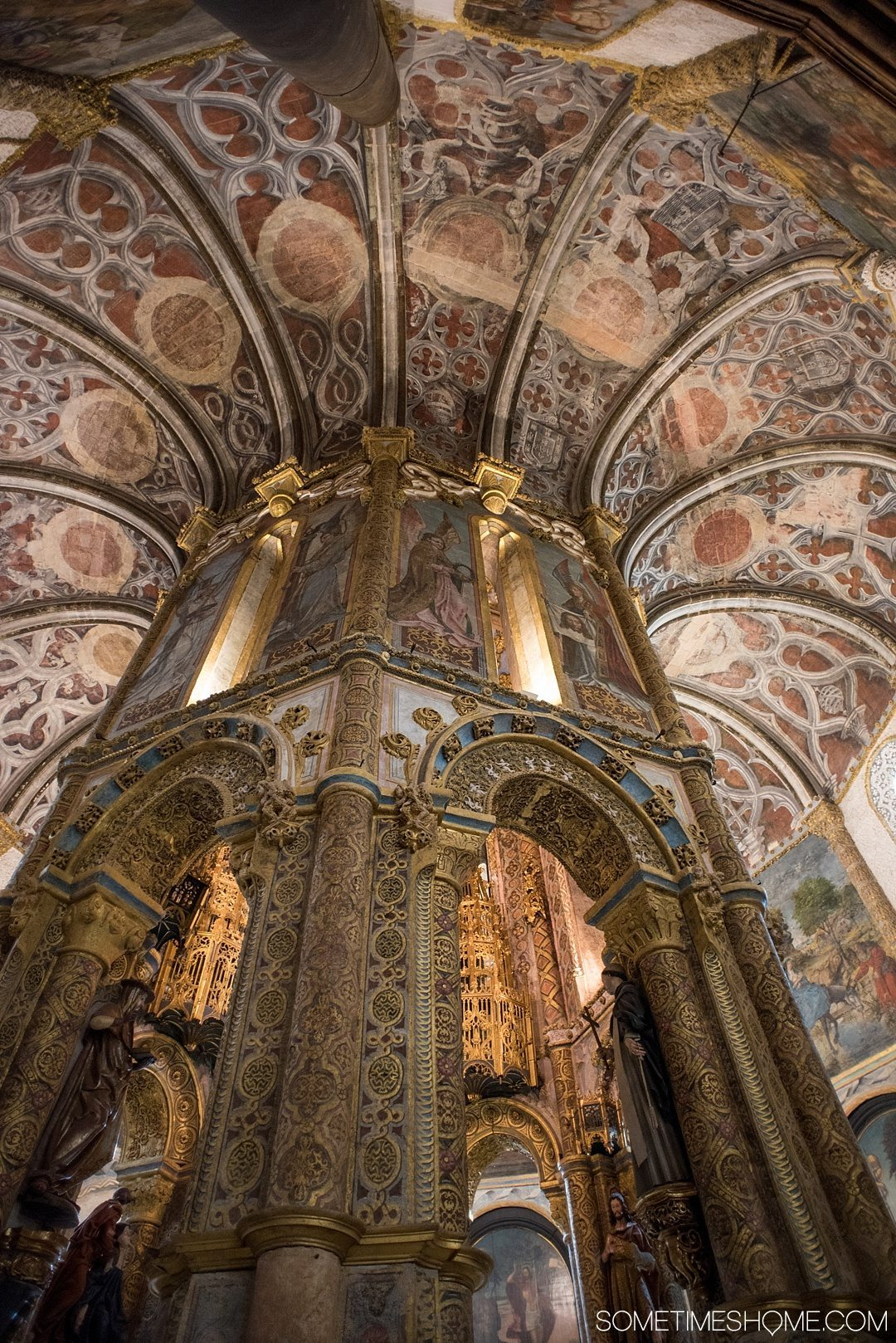 Amazing Day Trip from Lisbon to Tomar Portugal. Photos, tips and advice on Sometimes Home travel blog. Picture the interior of Castelo de Tomar and Convent of Christ.