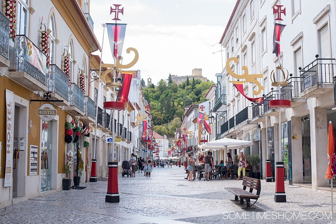 Day trip to Tomar, Portugal from Lisbon. Photos, tips and advice on Sometimes Home travel blog. Picture of the town of Tomar.