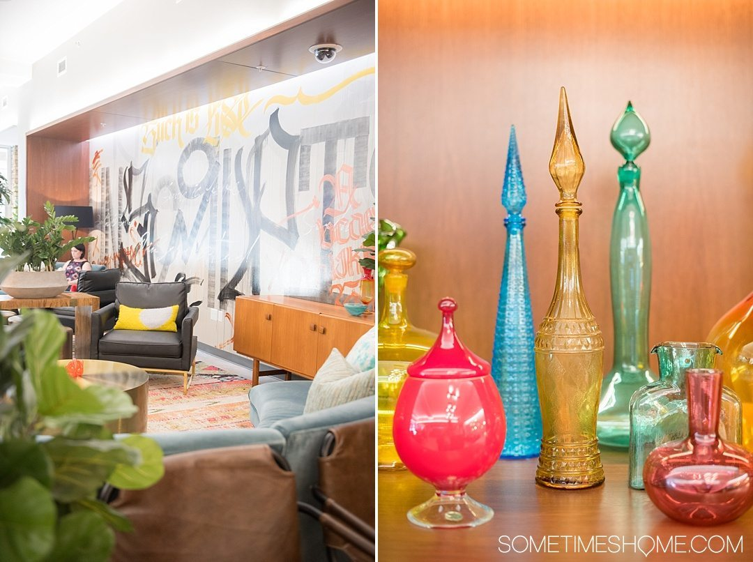 Unscripted Hotel Review Durham in North Carolina. Photos and information on Sometimes Home travel blog. Picture of the interior lobby area with bright colors, graffiti and fun mid-century modern twists.