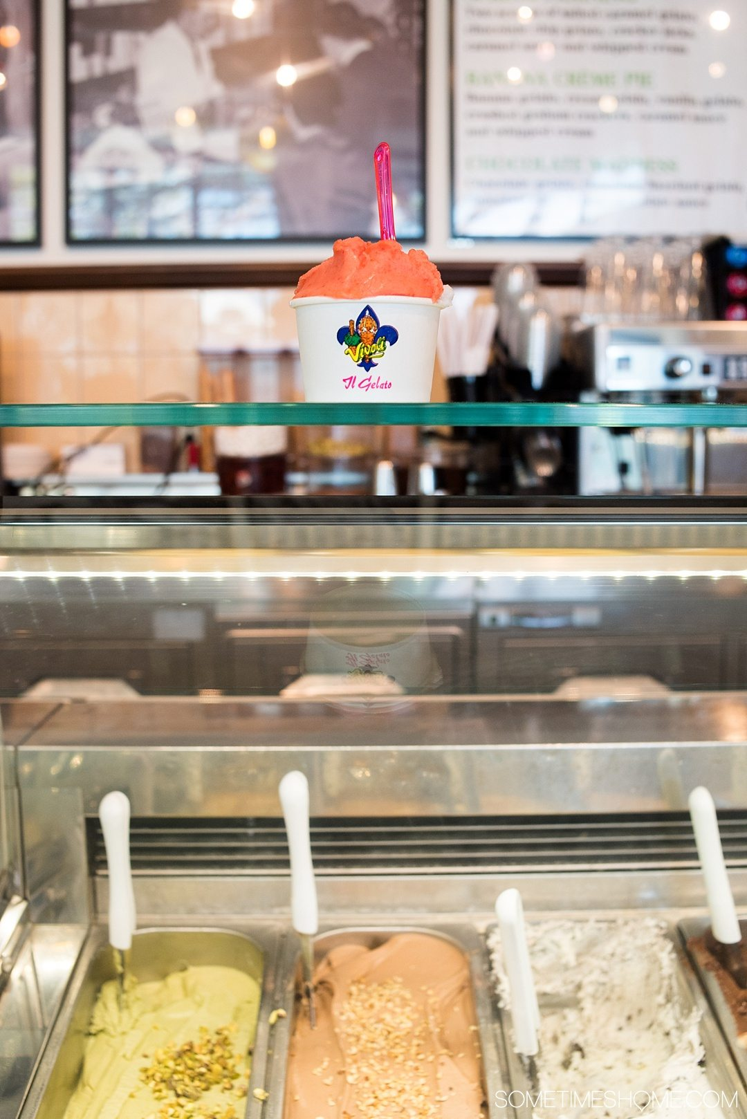 Heading to Walt Disney World? Definitely travel to Disney Springs (formally known as Downtown Disney) for a trip and indulgence in food! We dish on ideas for the best Disney Springs desserts (like fresh sorbet) with photography at this Orlando, Florida themed area. Click through to Sometimes Home for detailed tips! #DisneySprings #WaltDisneyWorld #DisneyWorld