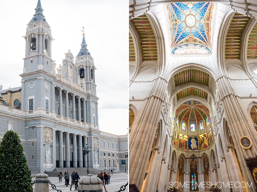 There are many things to do in Madrid, Spain. But people often wonder is one day enough in Madrid? We answer that question while showing you photography of this popular travel destination. From art, to food, and architecture attractions we have all the tips covered on Sometimes Home! (Including where this beautiful church is!) Click through for the complete post! #Madrid #MadridSpain #SpanishFood #artmuseums #tapas #plazamayor #churros