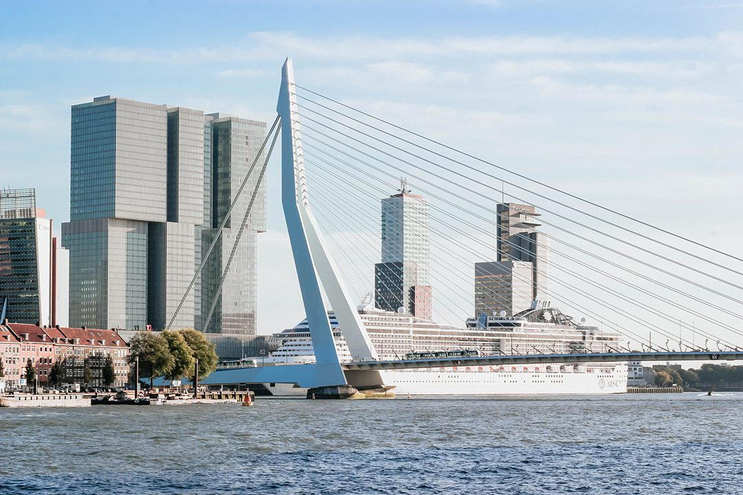 Ocean cruise ship in Rotterdam in The Netherlands.