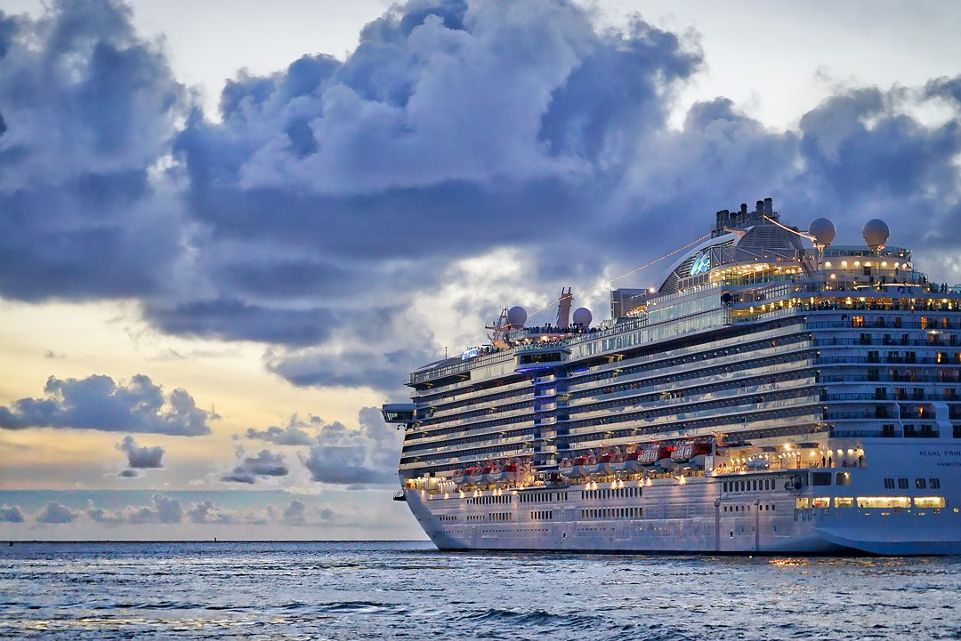 Cruise ship during dusk