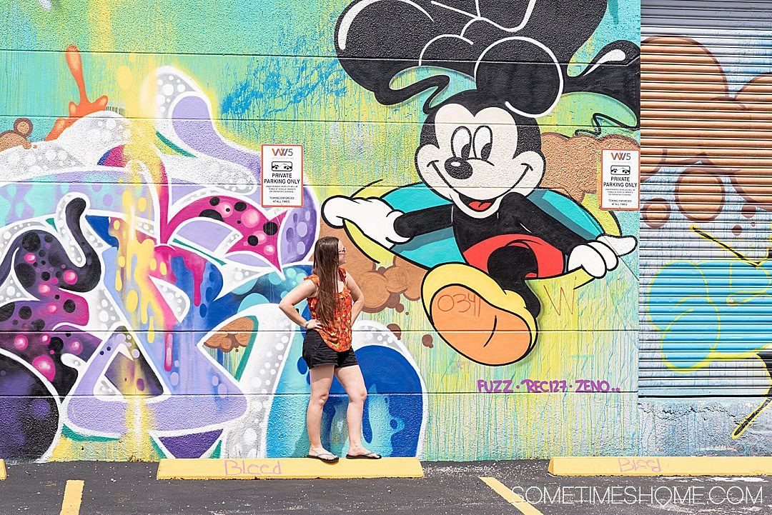 Mickey Mouse mural in Wynwood, Miami on Sometimes Home travel site with information on additional things to do in the neighborhood.