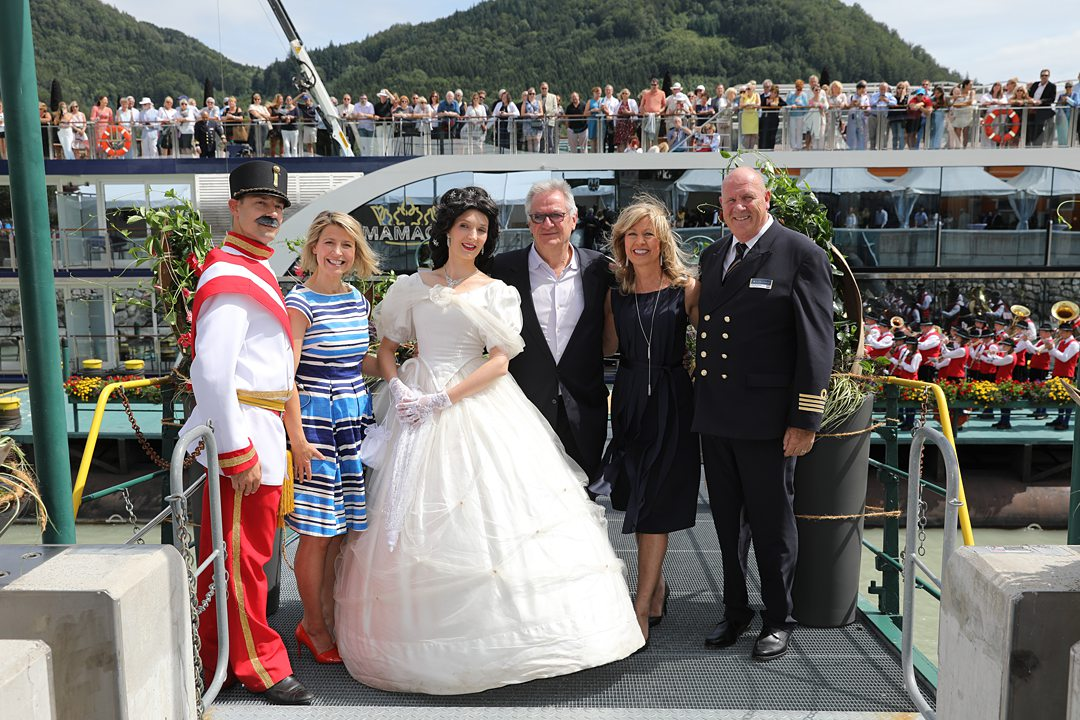 Photo of Samantha Brown, celebrity travel personality, and the AmaWaterways staff for the christening of the AmaMagna river cruise ship.