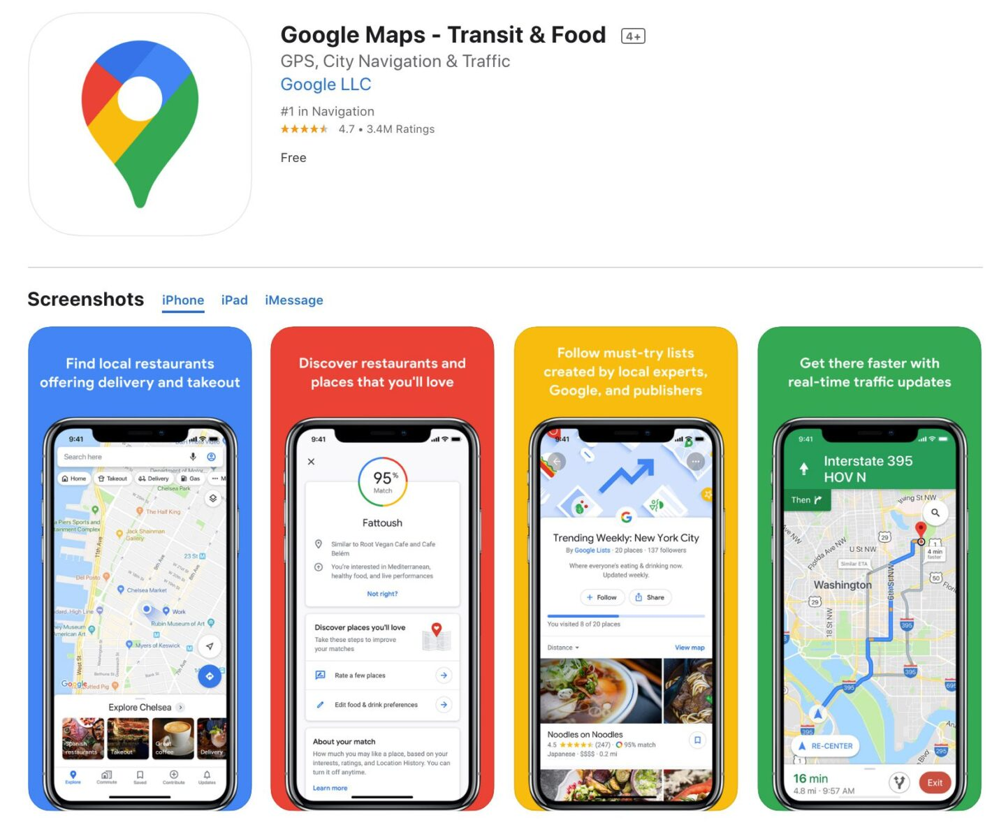 Screenshot of the Google Maps app from the iOS app store.