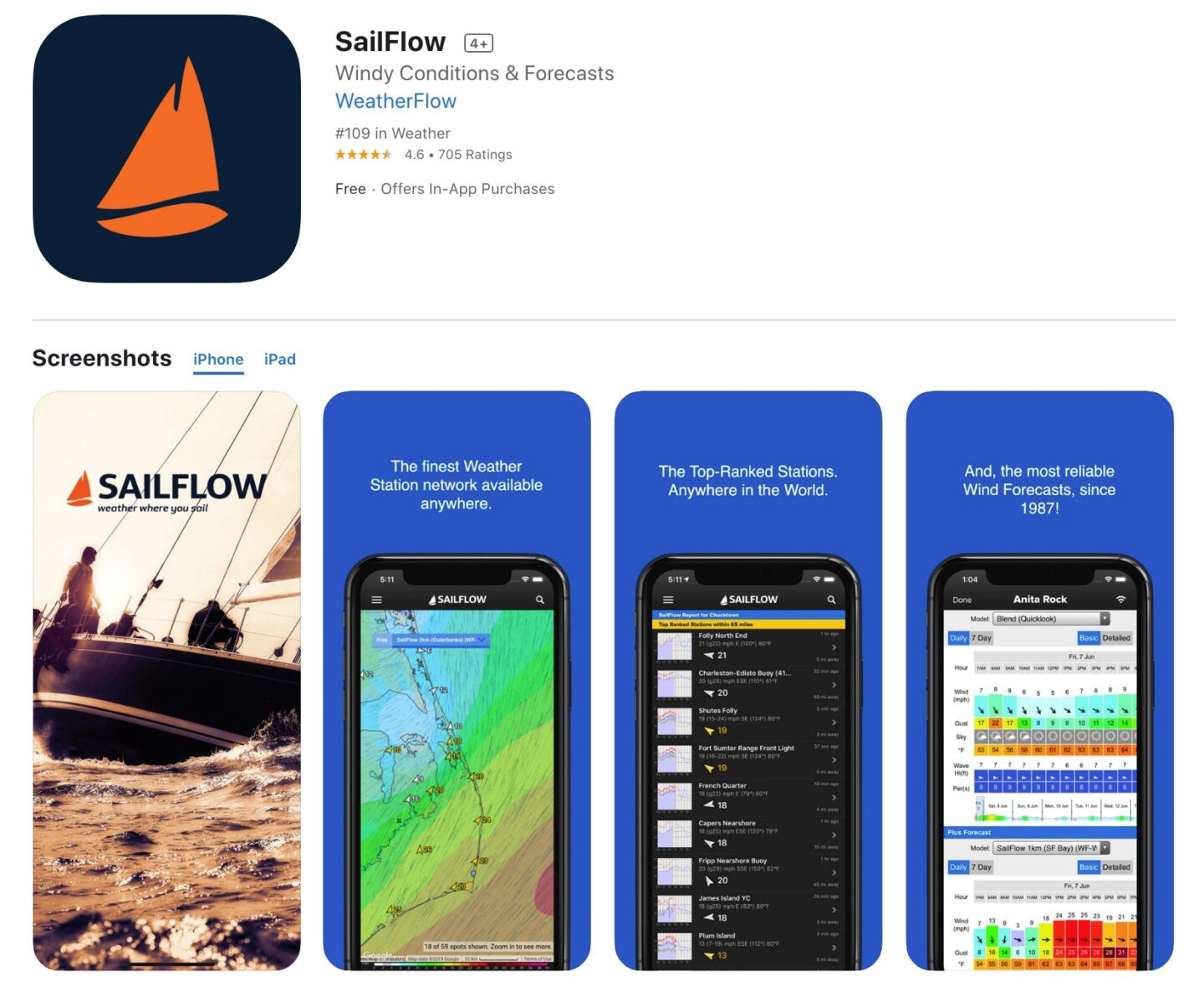 Screenshot of the SailFlow app from the iOS app store.