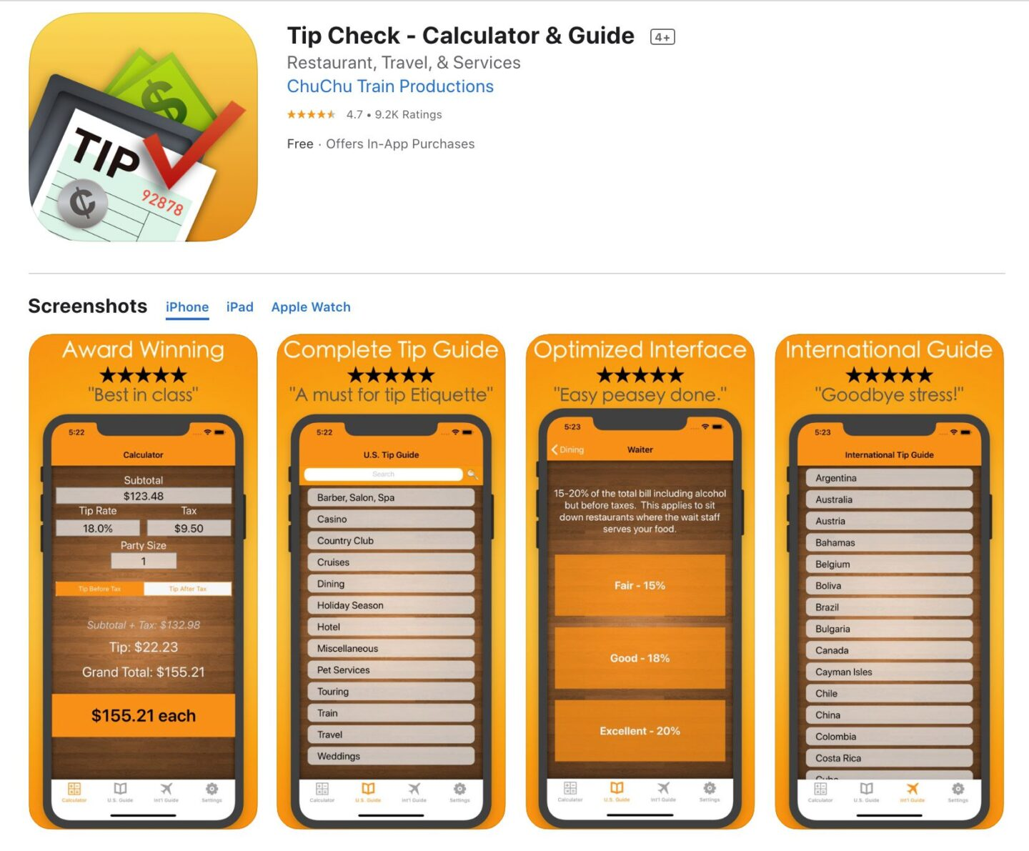 Screenshot of the Tips Check app from the iOS app store.