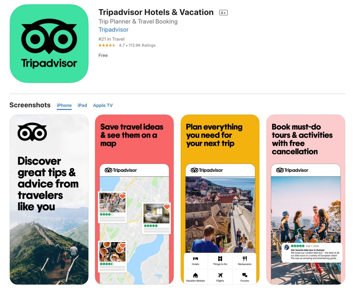 Screenshot of the TripAdvisor app from the iOS app store.