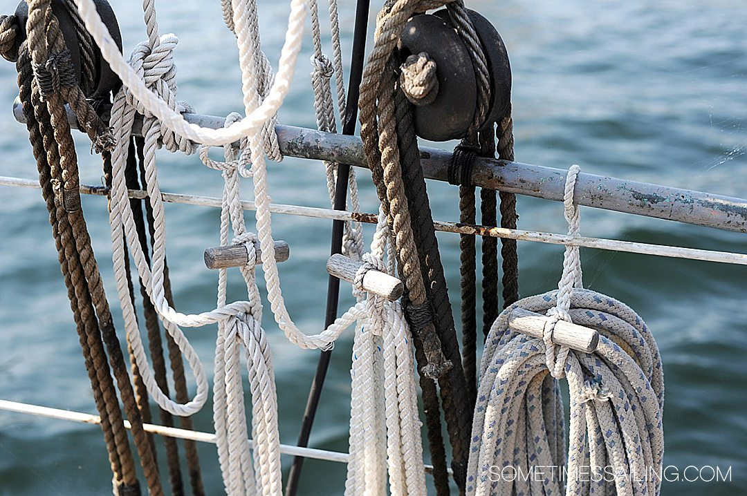 Photo of the lines or ropes on a sailing ship for a post about cruise ship terms.