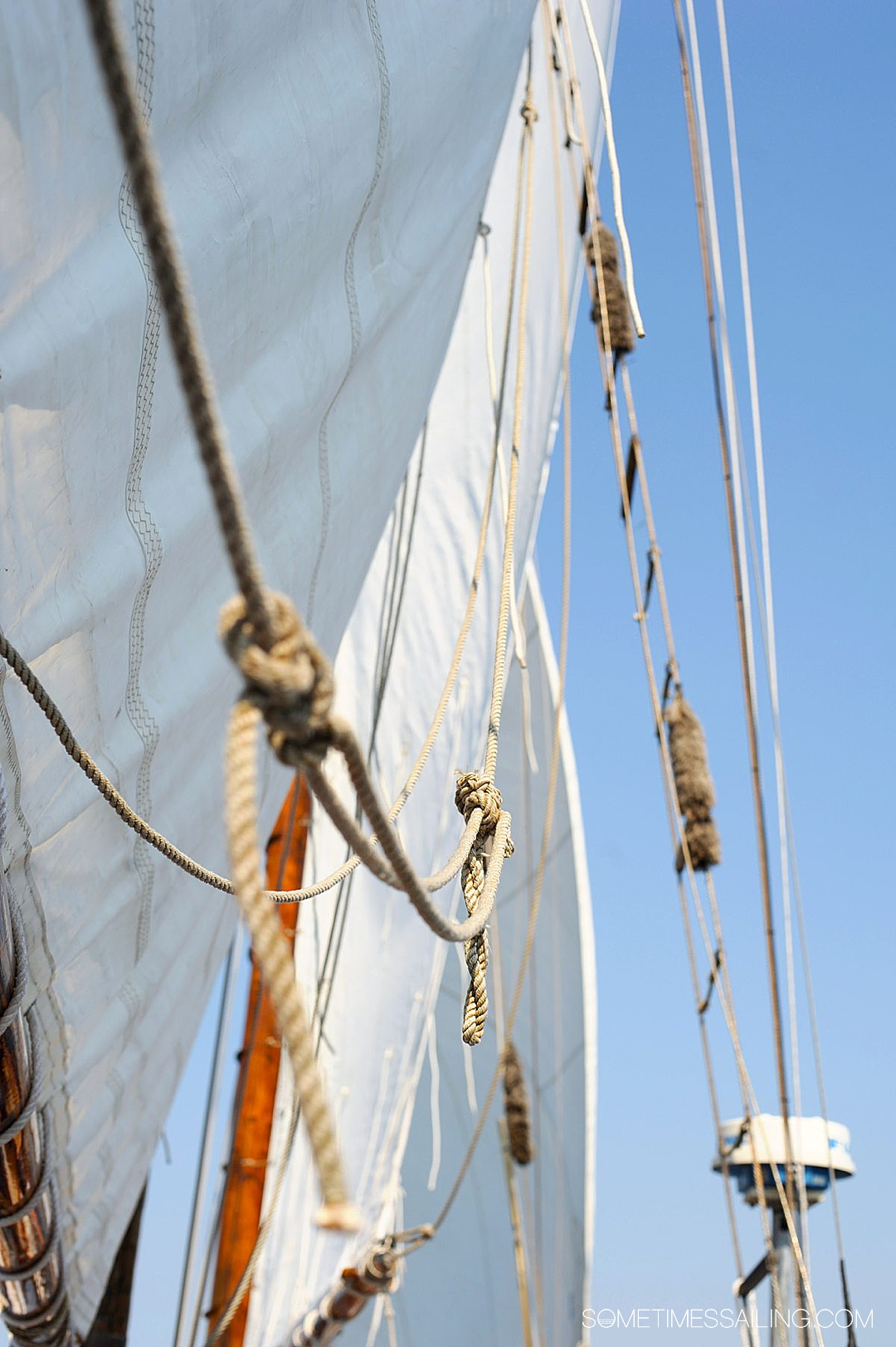 Cruise ship terms you need to know. Sails and lines on a sailboat.