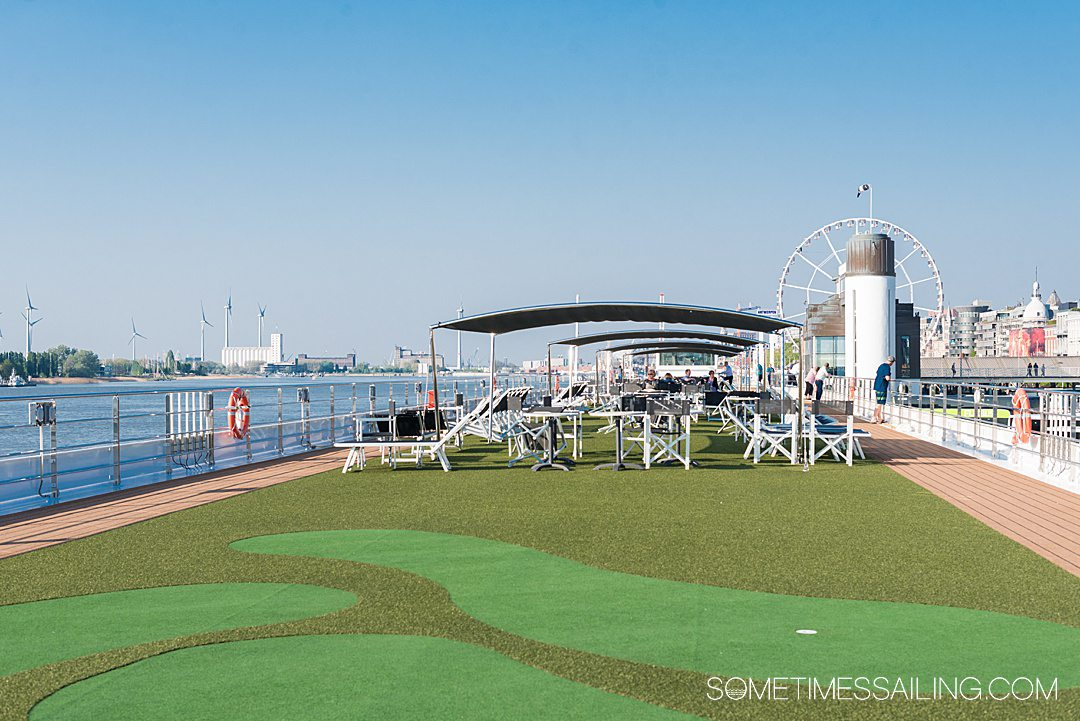 Putting green on the top deck of a river cruise ship, on Emerald Cruises.
