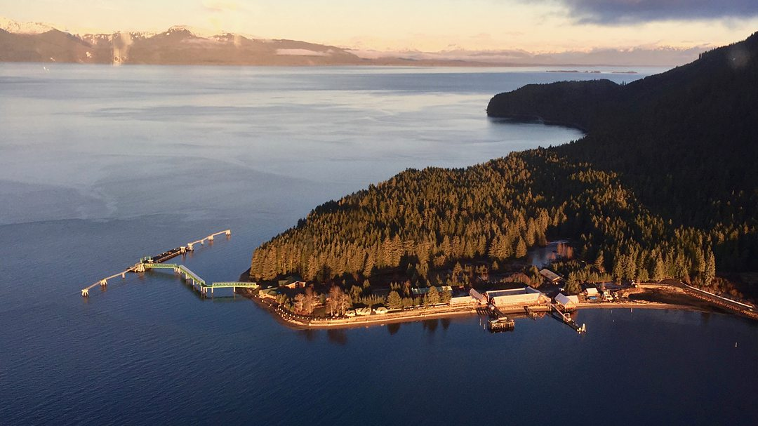 Aerial view of Icy Strait Point Alaska