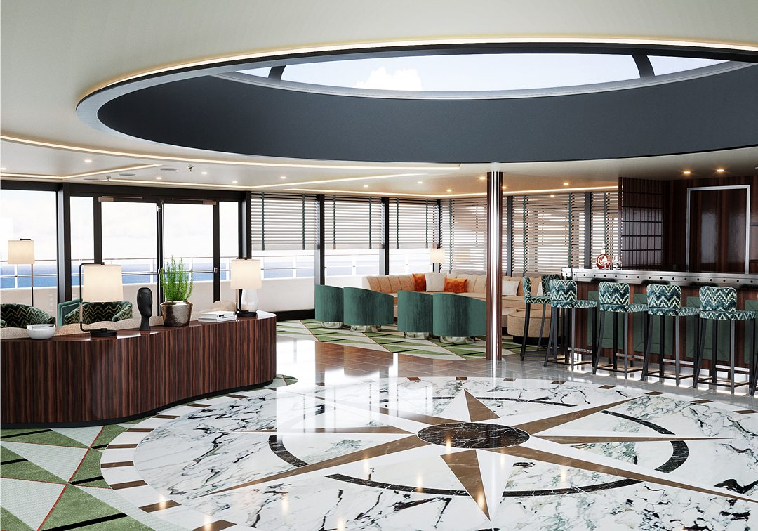 Dome Lounge on the World Navigator on Atlas Ocean Voyages expedition luxury cruise line.