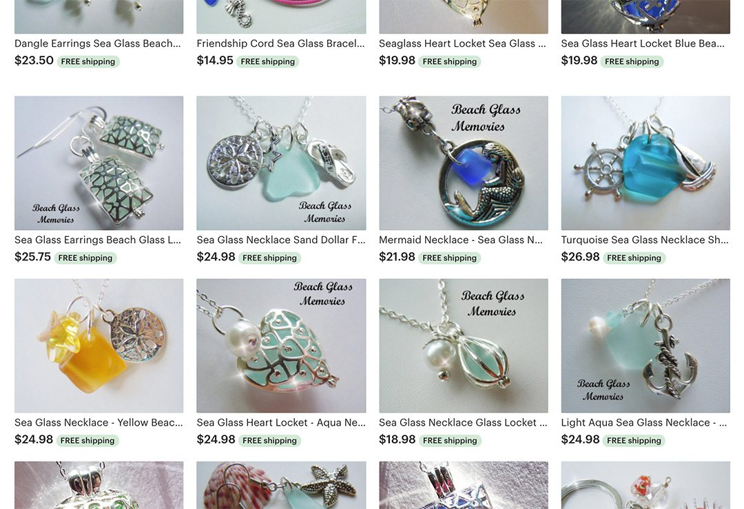 Grid of an Etsy store with beach glass jewelry and pearl charms.