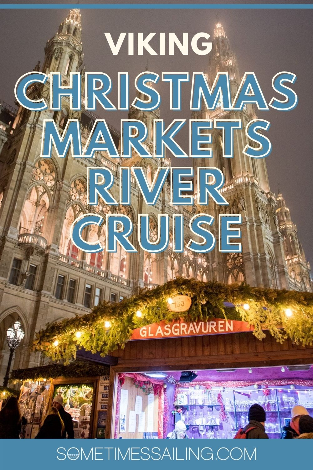 Viking Christmas Markets River Cruise with a tall European building in night lighting and a market kiosk in the foreground