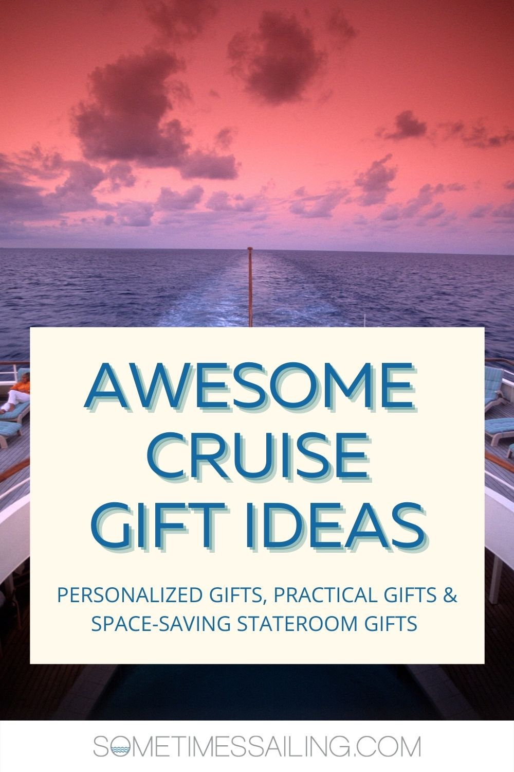 Cruise gift ideas Pinterest image with a blue block and text and photo of a pink and purple sunset above a cruise ship