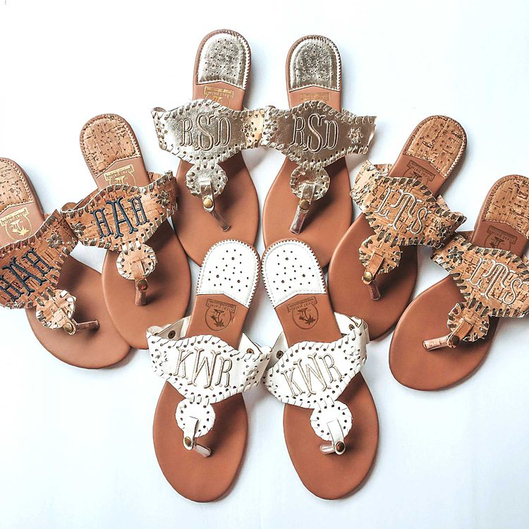 Flip flops with personalized monograms on top for cruise gift ideas.